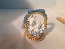 Schmid Porcelain Music Box Original 1985 Vintage Original  Bunnies on A Basket