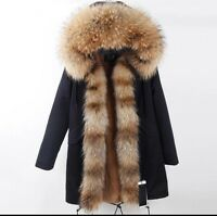 Women's Fur Coat Jacket Parka W/ Genuine Raccoon Fur Hood & Zipper Trims Winter