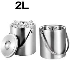 2L Edelstahl Eiskühler Eiswürfeleimer Eiswürfelbehälter Eiseimer mit Eiszange