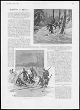 1894 Antiguo Print-Escandinavia Militar Ejército Taladros raquetas esquís (174)