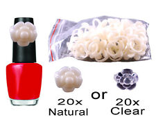 20 Flower Display Ring Pops Nail Polish Bottle Top Natural Clear Clip On Tool