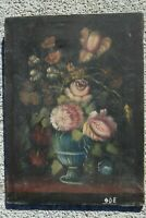 ANTIQUE FRENCH OIL ON CANVAS PAINTING IMPRESSIONIST STILL LIFE FLOWERS
