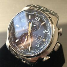 Mens Citizen Watch Eco Drive World Time Sapphire Radio Controlled AT9010 Genuine