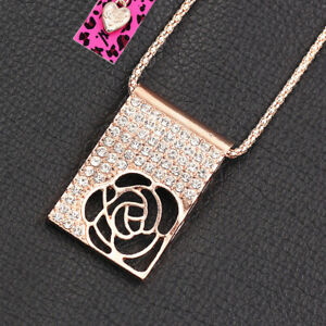 Betsey Johnson Women's Crystal Hollow Rose Flower Pendant Sweater Chain Necklace