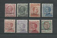 1923 SASENO FRANCOBOLLI D'ITALIA 1901/22 SOVRASTAMPATI 8 VALORI MLH*