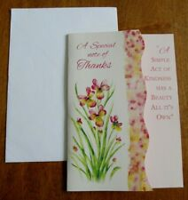Vintage Thank You Card & Envelope - Die Cut with Pretty Pink Flowers
