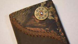 ZEP-PRO 12 gauge  Shot Gun Shell Fence Row Camo Trifold Leather Wallet TIN BOX