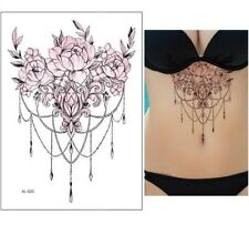 Tattoo Sticker Peony Flower Pattern Sticker Fake Tattoo Under Breast /-b432-/