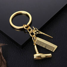 Women's Gold Hairdresser Scissors Comb Stylist Key Ring Pendant KeyChain