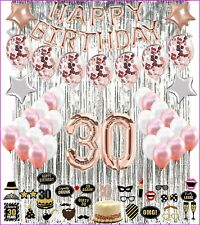 30th Birthday Decorations Rose Gold 30 Birthday Party Supplies with photo props
