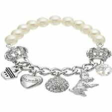 JUICY COUTURE bead crown dog heart shield charm stretch bracelet NEW