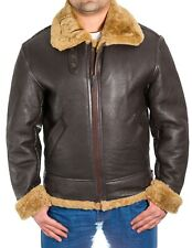 Mens Brown B-3 Aviator Shearling Sheepskin RAF Pilot WW2 Flying Bomber Jacket