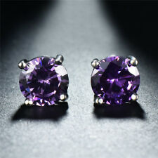Classic Fashion Round Purple Amethyst 8mm Stud Earring 925 Silver CZ Earrings