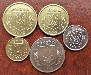 Ukraine - 5 coins - 50, 25, 10, 5 & 2 Kopiiky - 1994-2009