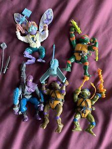 Vintage Teenage Mutant Ninja Turtles Action Figures X 5 TMNT Toys