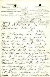 1890 Rosalia Washington (WA) Letter Anderson Brothers. M. J. Shields & Co