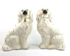 Antico Vittoriano Staffordshire Pottery Wally cani Mantello Cani Spaniel Flatback