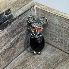 Mouse Brooch Pewter Tone Black Red Stone 3.5 X 2cm Novelty Fun