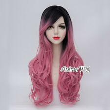 Lolita Party Women Black Mixed Pink Curly Hair 70CM Heat Resistant Cosplay Wig
