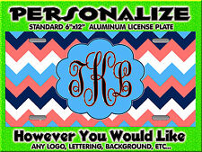 Chevron Coral Navy Light Blue background PERSONALIZED Monogrammed License Plate