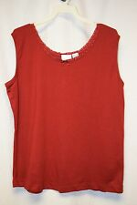 Womens Shirt Size XL By Bobbie Brooks Red Tank Sleeveless Pull Over Lace Ribbon