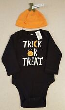 New Old Navy Baby Boys 6-12 Months Halloween Bodysuit & Pumpkin Hat Oufit #32118