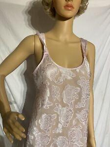 Secret Treasures Chemise Negligee Nightgown Floral Print Light Pink Medium