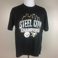 Steelers and Penguins Steel City Champions Men T-Shirt Large Black Short Sleeve