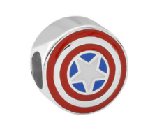 MARVEL CAPTAIN AMERICA STERLING SILVER DISNEY DOUBLE SIDED CHARM BE A HERO SOLID