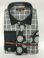Mens Henri Picard Black and White Checkered Dress Shirt and Tie Set
