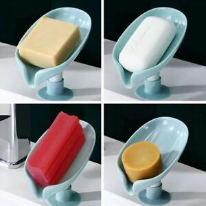 Leaf Shape Soap Dish Bathroom Soap Holder Drain Punch-Free Soap Box Storage Dish