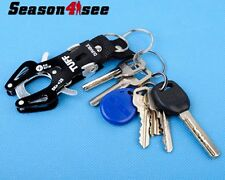 Tactical Quick Release Mountaineering Aluminum Alloy Tiger Buckle Keychain Black