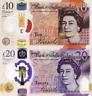 ENGLAND, Set of £10&20, 2020, P-NEW, POLYMER, Q. Elizabeth II, UNC