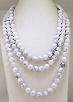 """10mm Natural White Howlite Turquoise Round Beads Necklace 36"""" Long"""