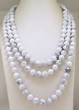 """8mm Natural White Howlite Turquoise Round Beads Necklace 18-48"""" Long"""