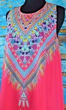 Xenia Boutique Women's Dress Size 6 Hot Pink Summer Party Colorful Boho Chic