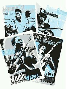 4 Blues music prints celebrating blues icons (unframed)