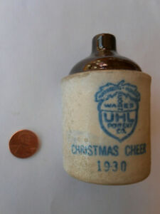 1930 Uhl Pottery Christmas Cheer Acorn Wares mini jug