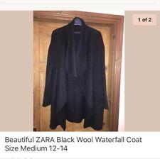 Beautiful ZARA Black Wool Waterfall Coat Size Medium 12-14