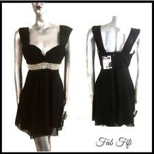 Black Party Dress Sweetheart Formal Beaded Chiffon Overlay Elise Ryan BNWT 14