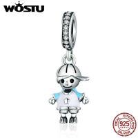 Wostu Little Boy 925 Silver Dangle Pendant Enamel Charm Beads Fit Bracelet Chain
