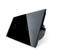 Design Glas Touch Lichtschalter Doppelt Ein/Aus C701/C701-12 Schwarz LIVOLO