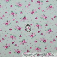 BonEful Fabric FQ Cotton Quilt White Pink Green Leaf Rose bud Flower Shabby Chic