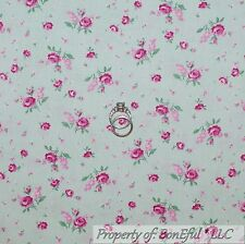 BonEful Fabric Cotton Quilt White Pink Green Mint ROSE Shabby Chic Flower SCRAP
