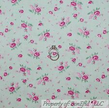 BonEful Fabric FQ Cotton Quilt White Pink Green Mint ROSE Shabby Chic Flower Dot