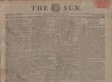 "RARE ORIGINAL NEWSPAPER ""THE SUN"" (24 July 1800) INDIA BUDGET- EGYPT - BAVARIA"