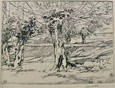 """John Wesley Cotton Signed Etching """"The Noon Hour"""" 6 1/2"""" X 9 1/2"""""""
