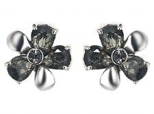 Silver & Grey Glass Stones Flower Stud Earrings