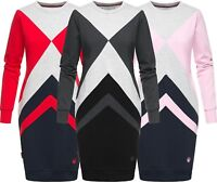 Marikoo Damen Sweat Pullover Tunika Pulli Colorblock Sweatshirt Lange KLeid Neu