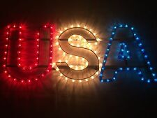 "Lighted Patriotic USA Sign- Red,White and Blue 25"" x 10"" Window, RV, Festivals"
